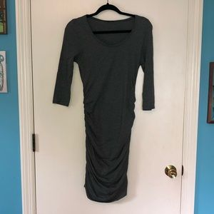 Express Dark Gray Fitted Midi Dress Size S
